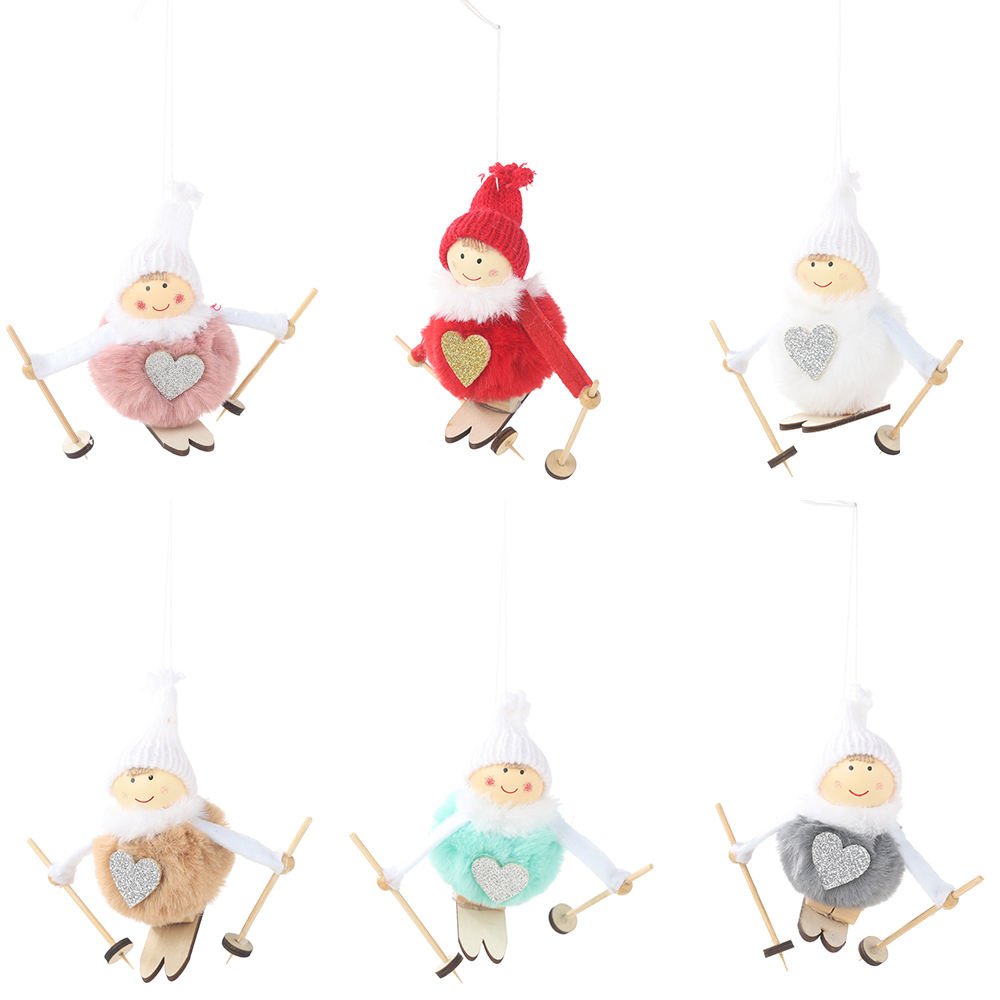 Snowmen Ski Doll Felt Plush Toy Christmas Decors Xmas Tree Hanging Ornament for Table Centerpiece Decorative Red and white
