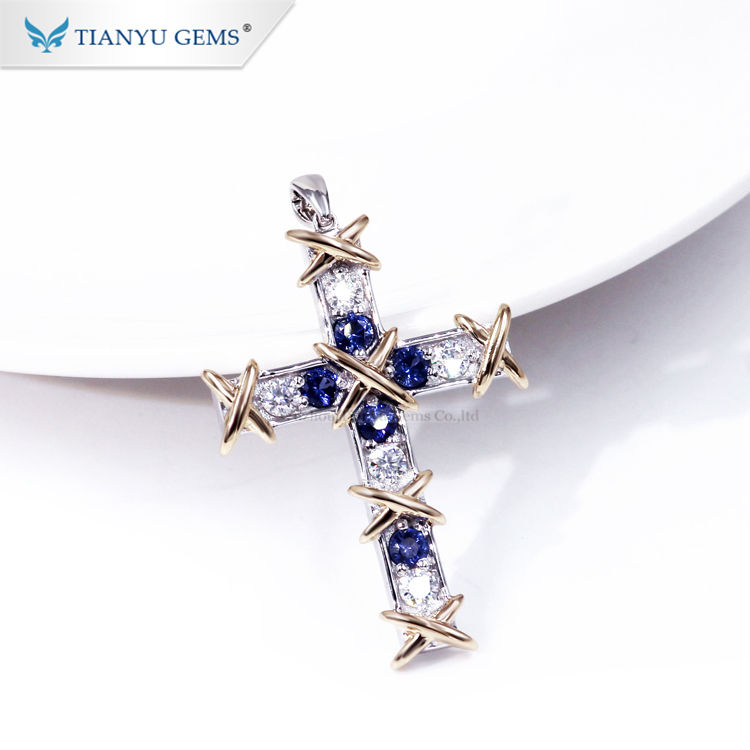 Tianyu 보석 <span class=keywords><strong>14k</strong></span> 18k 화이트 <span class=keywords><strong>골드</strong></span> moissanite 및 블루 커런덤 보석 <span class=keywords><strong>크로스</strong></span> 펜던트
