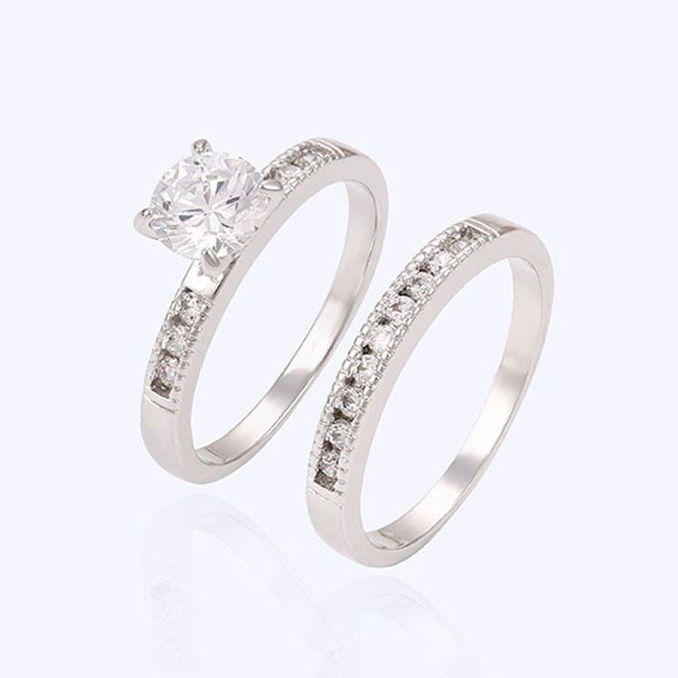 13482 Xuping 2016 elegant velentine's day ring rhodium color two finger crystal eternity fashion ring