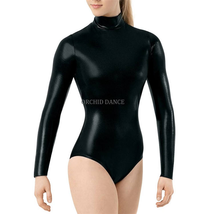 Wholesale Fast Delivery Long Sleeve Shiny Women Adult Gymnastics Leotards
