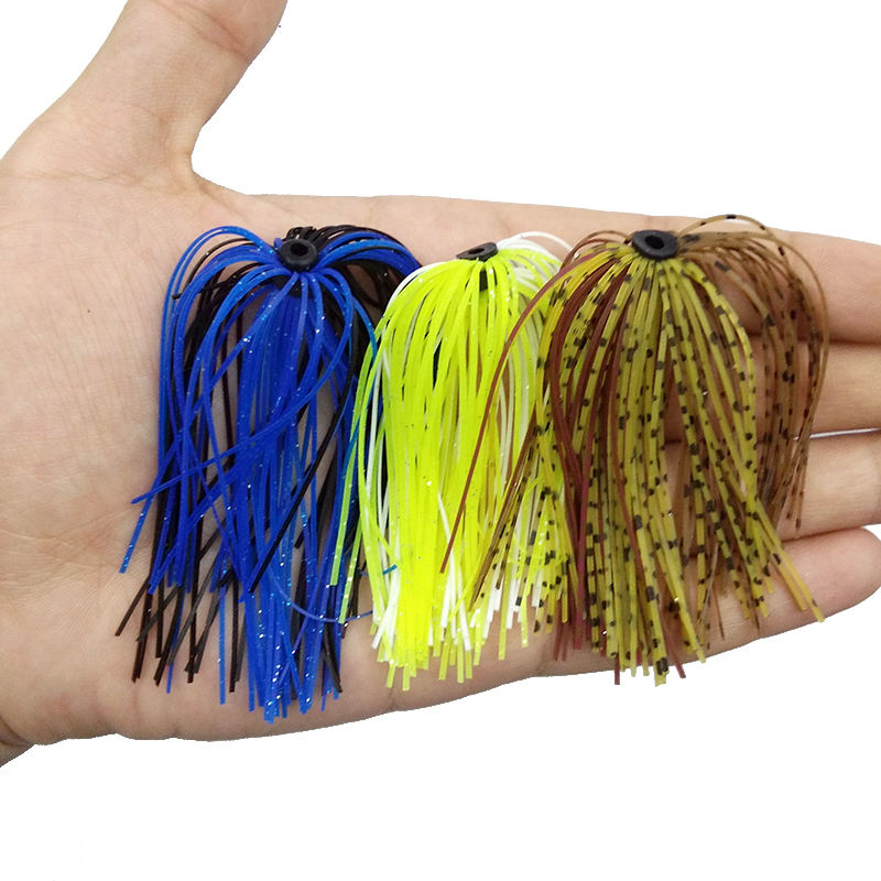 40 Pcs//Strands Fishing Skirts Silicone Rubber Jig Squid Lure Spinner Bait Thread