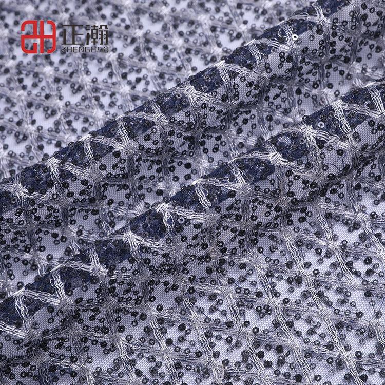 Mejor venta azul marino de encaje bordado con lentejuelas <span class=keywords><strong>tafetán</strong></span> tejido indio tela de encaje bordado