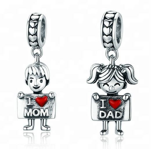 I love Mom and Dad Charms 925 Sterling Silver Childhood Boys and Girls Charms Pendants