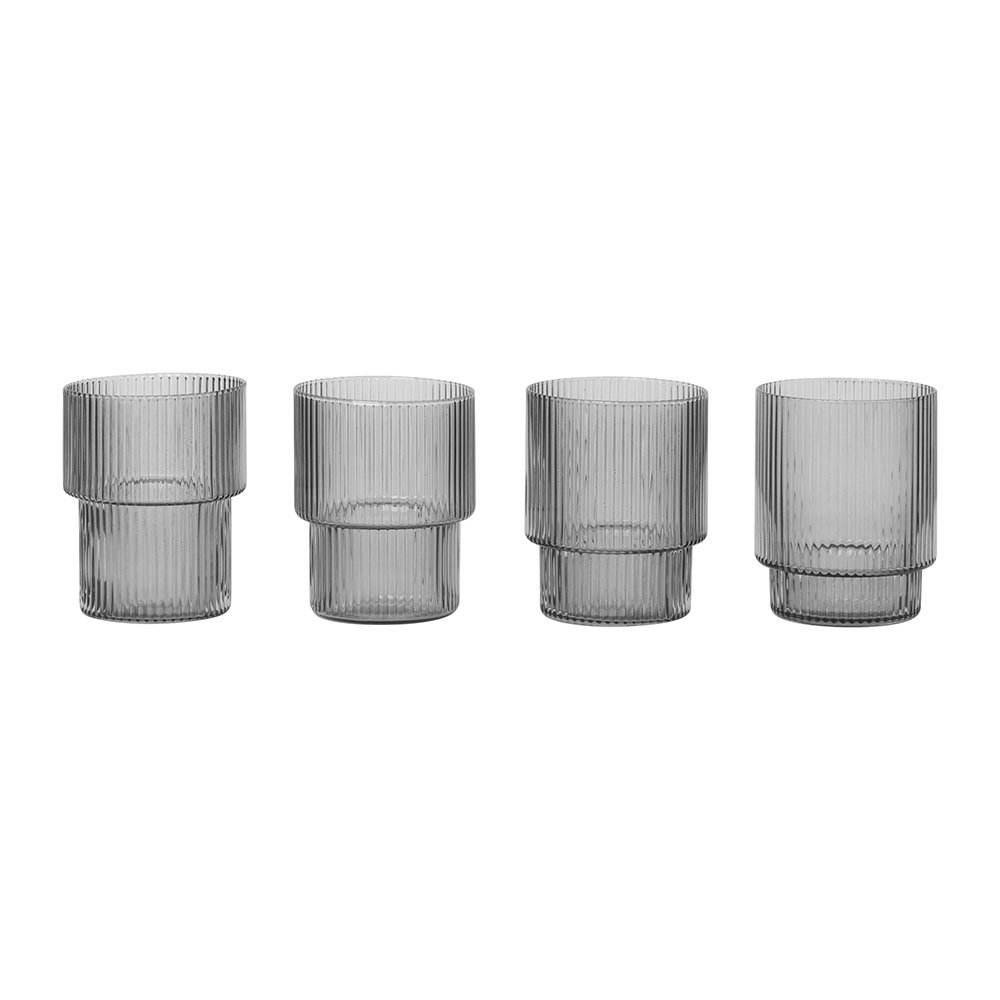 Ribbed fluted vertical stripe Smoked Grey and clear ripple glassware Set of 4 Ripple Glass