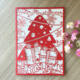 Merry Christmas Tree Vintage laser cut chinese red pearl paper greeting cards Christmas gifts souvenirs postcards
