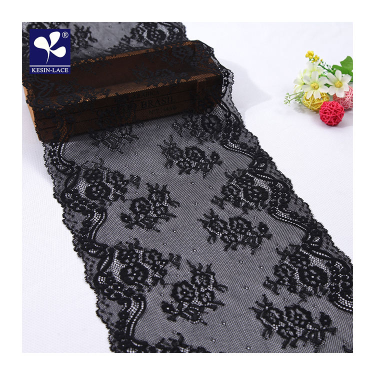 23Cm Nylon Spandex Chantilly Black Elastic Lace Trim For Panty Underwear