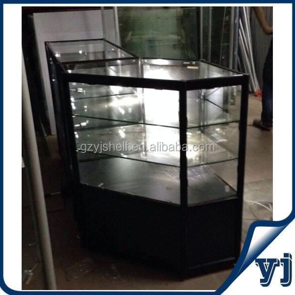 Shopping mall kiosk aluminum-alloy glass perfume display cabinet with led lights