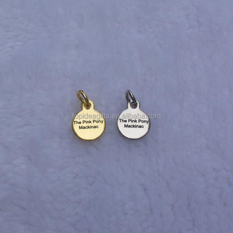 10mm Gold Silver Metal Logo Tags For Jewelry Mini Size Custom Design Metal Jewelry Charms