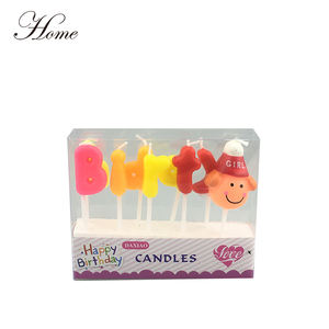 HOME brand Special Multi-Colored Letter Shaped Birthday Candle and girl/boy smile face shape candle
