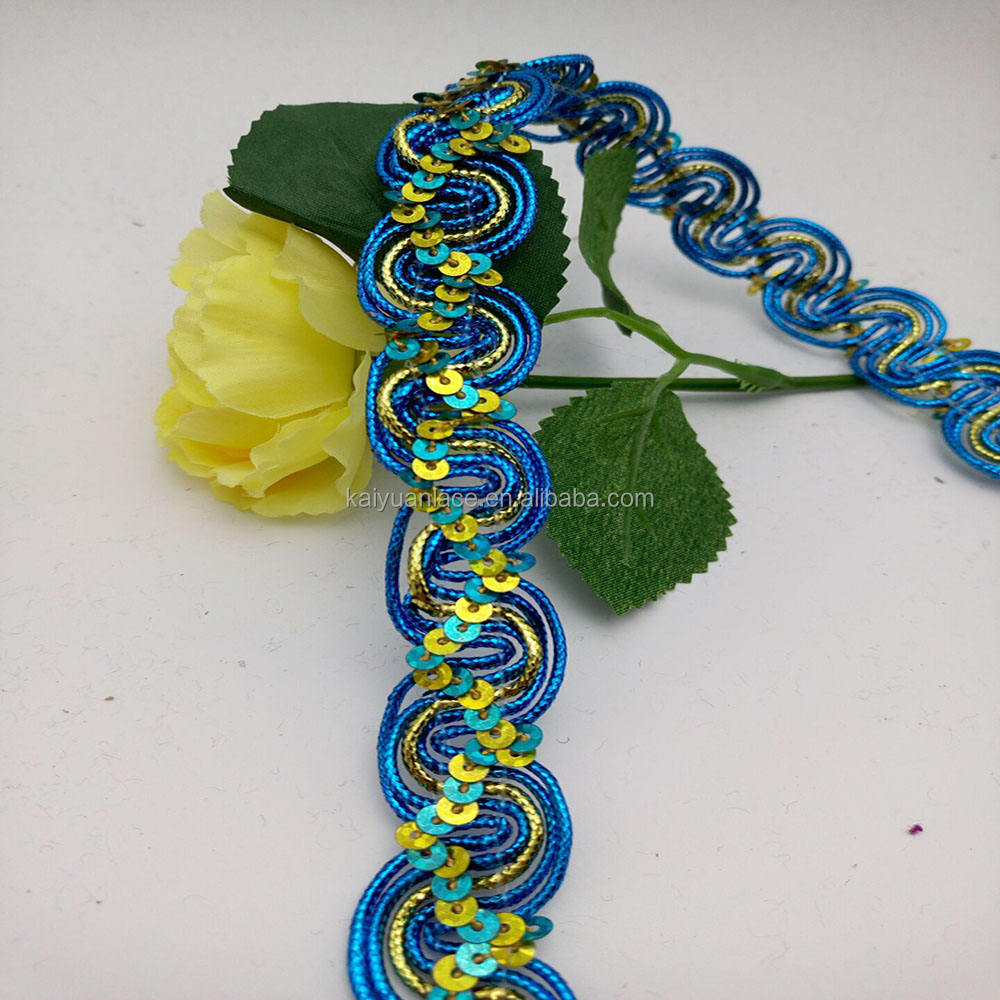 Golden s type bullion blauw braid sequin lace trim
