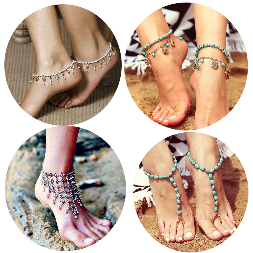Dvacaman newest barefoot sandals fashion foot chain jewelry colorful anklet with toe ring in body jewelry foot 02