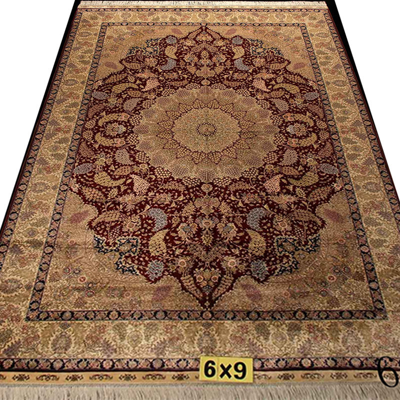 Persian Handmade Silk Carpet Hand Knotted Silk Rug Carpet Factory Wholesale