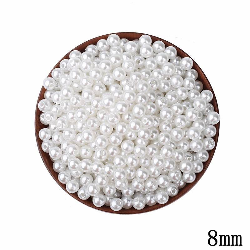 Wholesale 8 mm loose plastic faux pearl beads for jewelry making