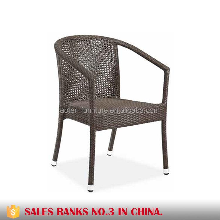 Mobilier d'extérieur empilable chaise de rotin en osier