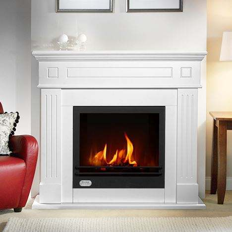 Wooden real flame fireplace bioethanol