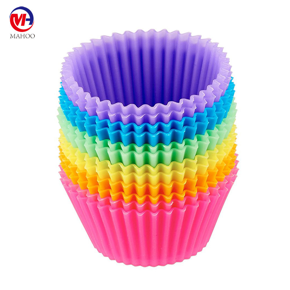 Pack of 12pcs Custom Printed Cupcake Reusable Silicone Baking Cups