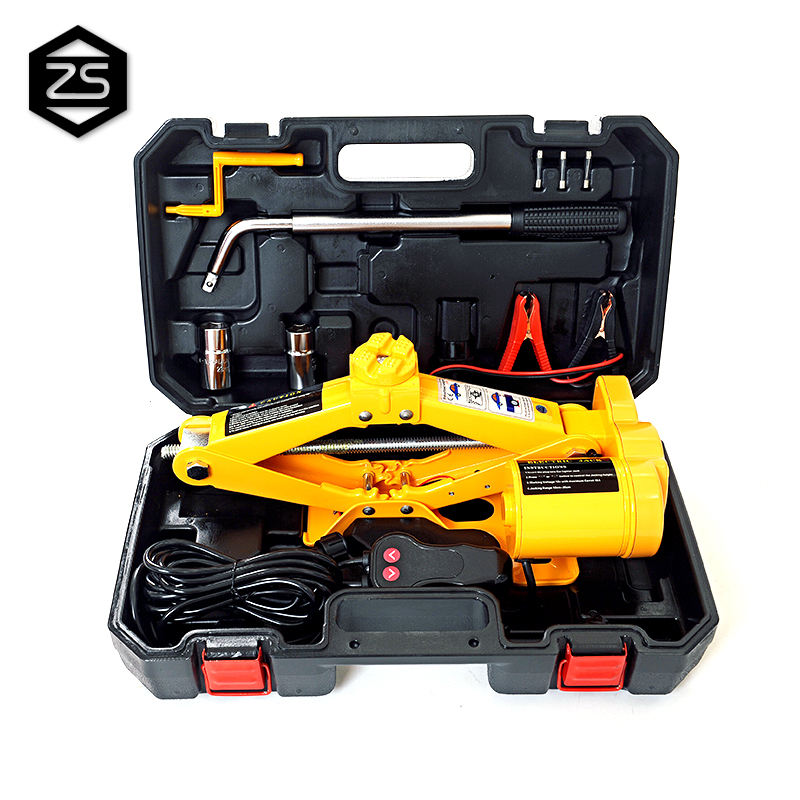 High Quality 12V 2 tons electric scissor car jack and adjustable wrench