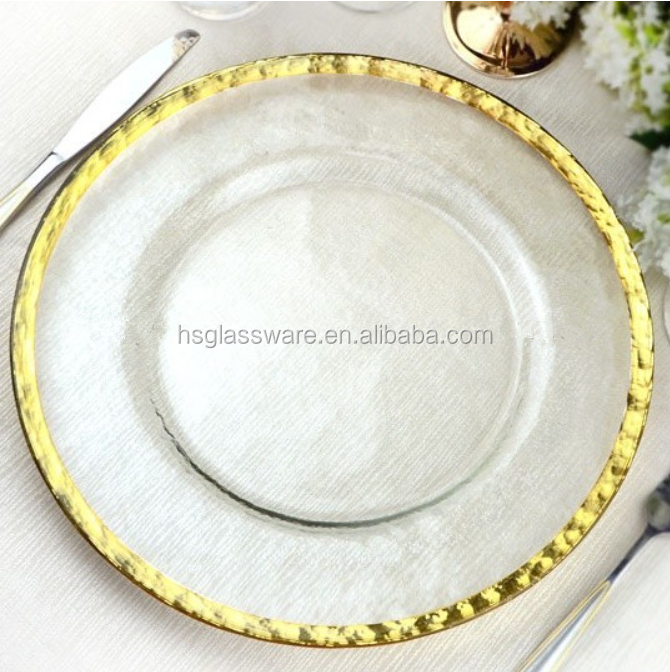 Golden Glass Charger Plate Round Dinner Bulk Gold Rim Clear Hammered Underplate Wedding