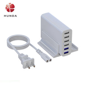 HUNDA 60W 6 Port Hub USB Charger Station with Stand 2 Port Quick Charge 3.0 for Smartphones  Tablets CE FCC Qualcomm Certified