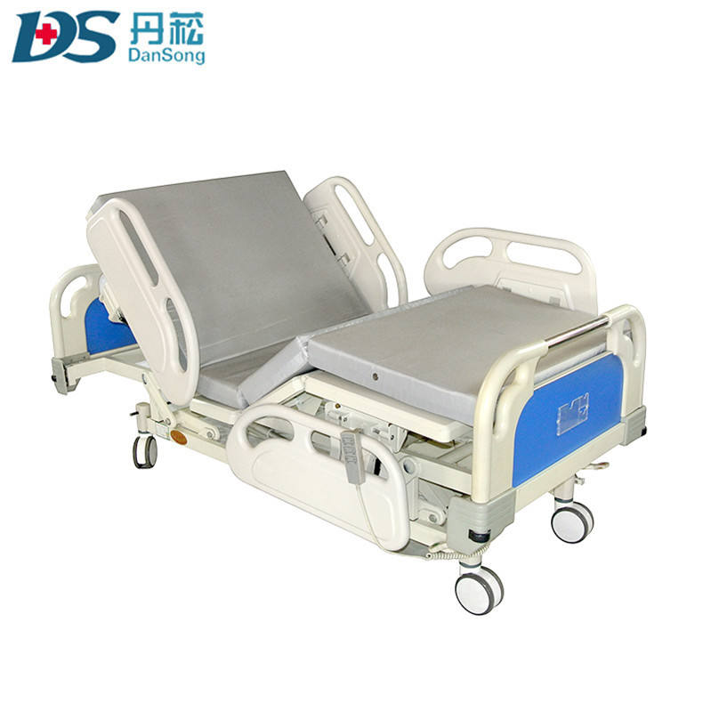 Multi-function ABS electric folding adjustable ICU hospital care bed with toilet
