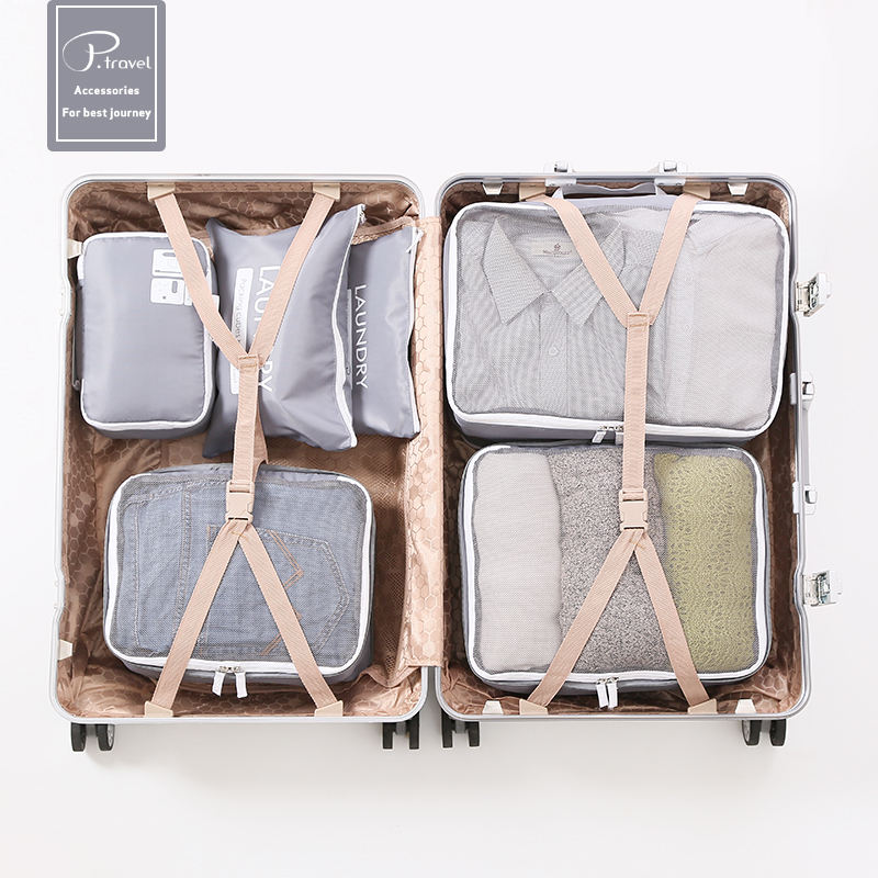 P.travel fashion 6 pcs Waterproof Travel Luggage Organizer Packing Cubes Set -3 Travel Cubes + 3 Pouches Zipped Mesh Bags