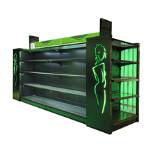 2020 customized shop furniture cosmetic glass display shelves with light bar