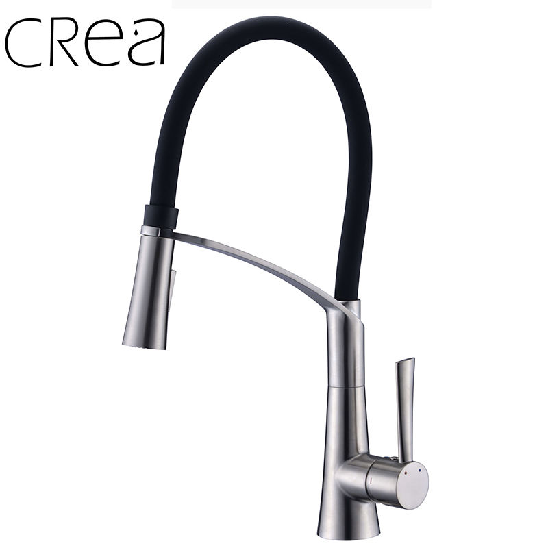 Stainless steel pull down kitchen faucet with sprayer and cupc certified