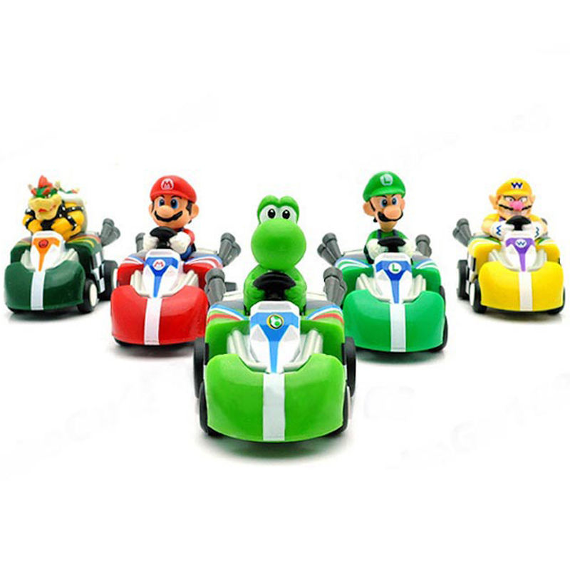 (hot sale) 5pcs/set Super Mario Bros Car model Toys; Daisy pvc pull-back car, cartoon 4WD car Figurine toy for kid's gift