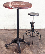 Bar Round Top Table And Rotating Chair