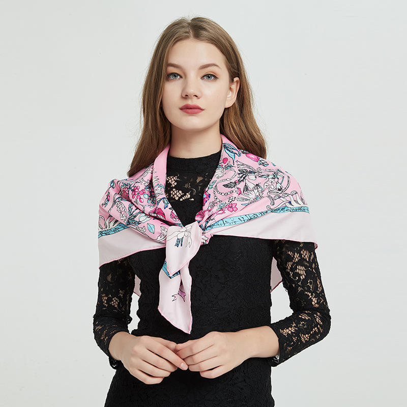 New Silk Scarf Female Twill Silk Handmade Ribbed Square Scarf 90cm Flowers, Carriage, Chilli Printed High Quality Scarf