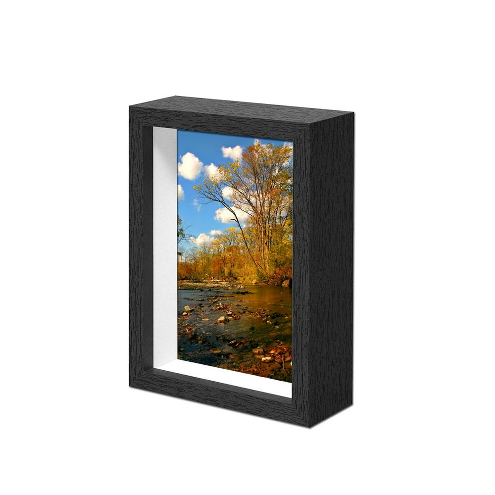 Wholesale Modern Wed Anniversary card design Wooden Black Deep Free Shadow Box Photo Frame new models