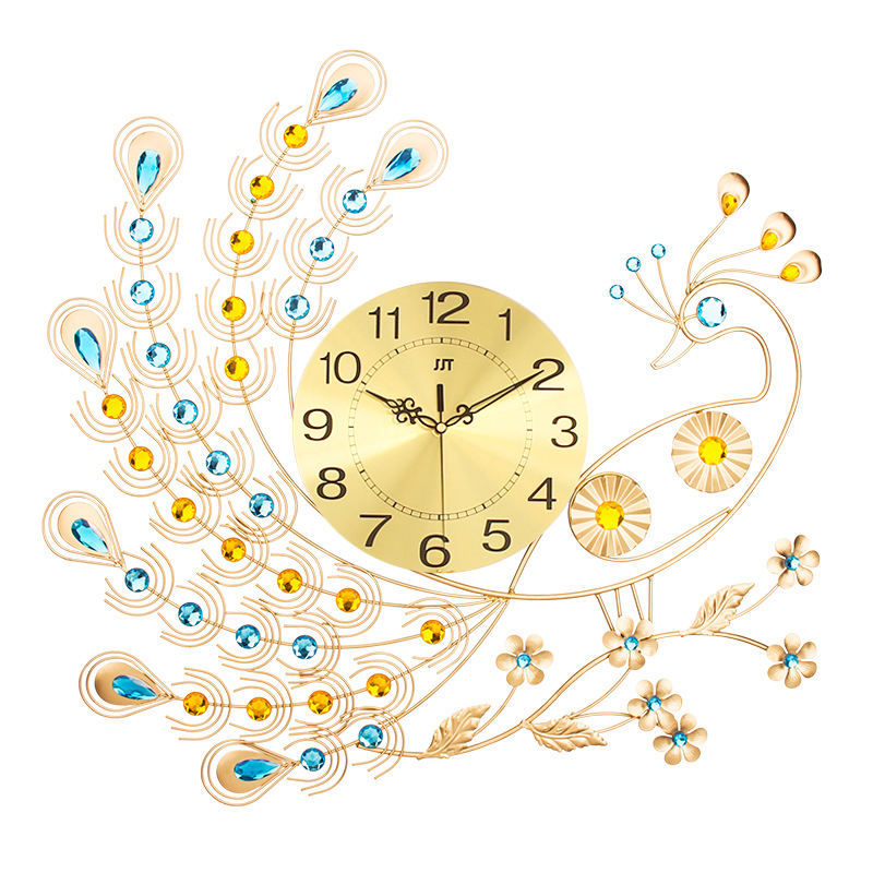 Popular Design Metal Handmade Big Wall Clocks China Hot Sell To Vietnam Iron Peacock
