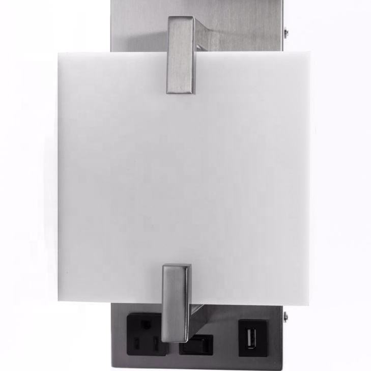 2018 ETL American PCB wall lamp 2-lights Hotel Bedroom Wall Mount Lamp With Switches And USB And Outlets LED HOTEL WALL LAMP