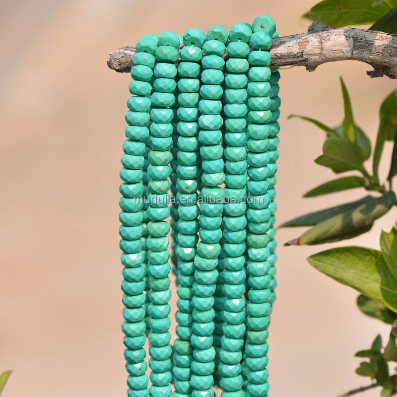 A16032805 Beautiful Jewelry Findings Faceted Turquoise Rondelle Loose Beads Full Strand For Sale
