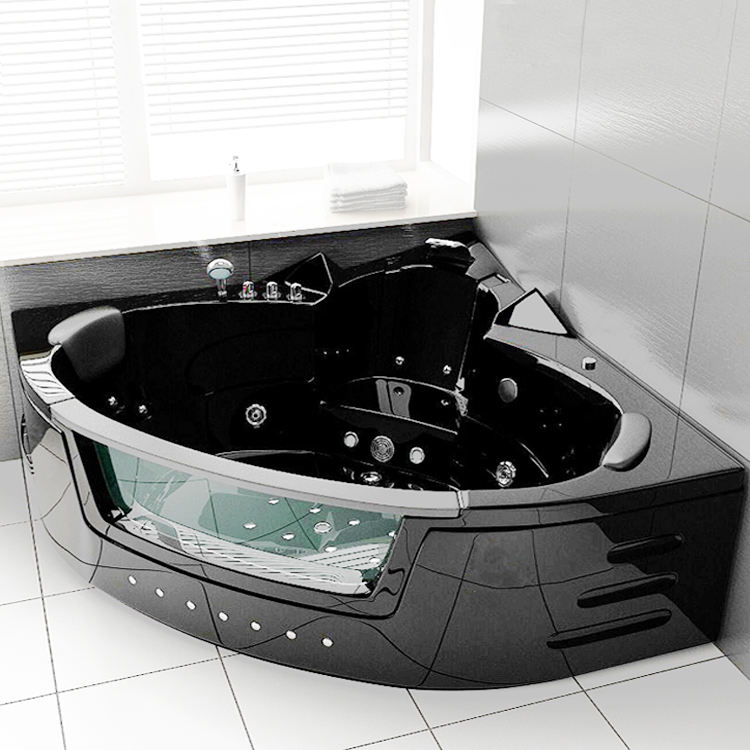 Lover Bath Factory Luxury Black Corner Whirlpool Massage Bathtub with Glass Bubble Ozone Indoor