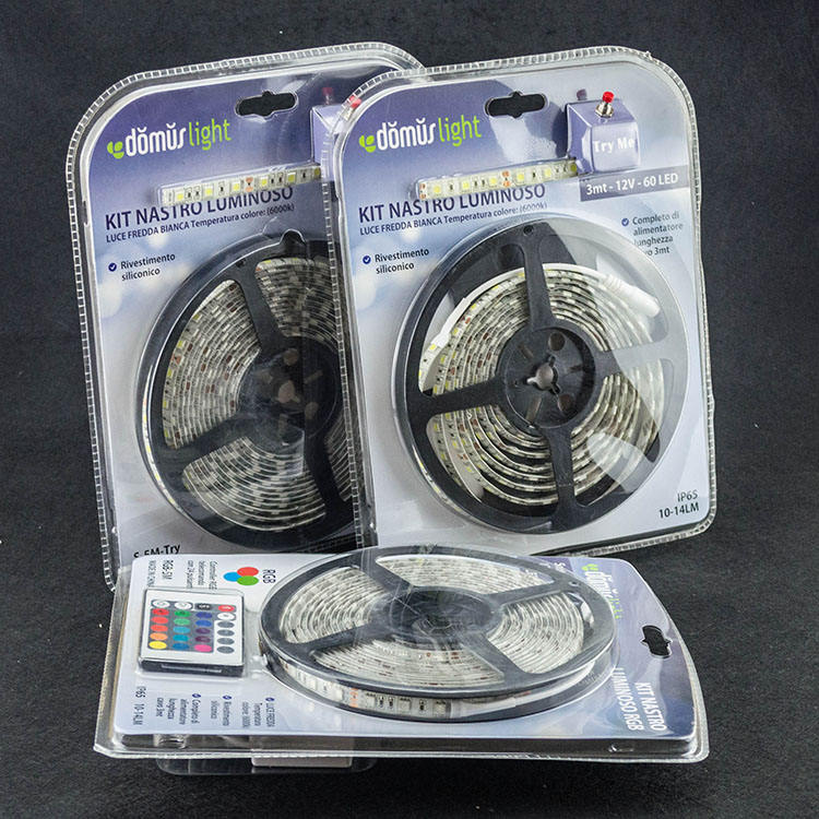 Hot selling in amazon home decoration smd2835/smd5050 blister packaging 5meter kit 12v/24v led strip lights with power