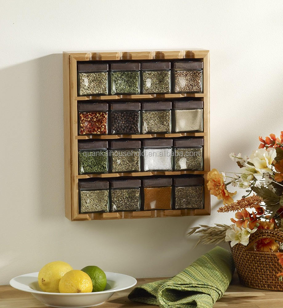 Bamboo 16 Cube Spice Rack