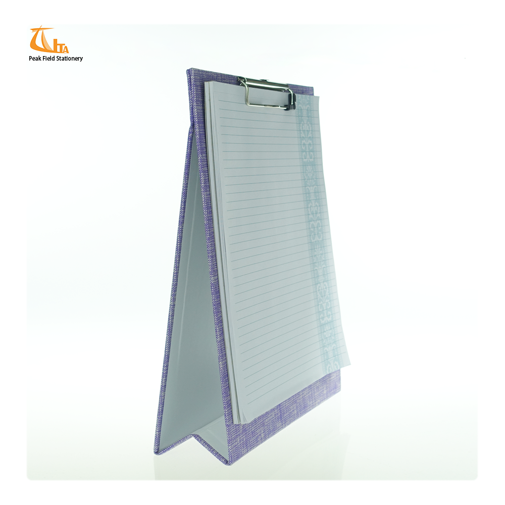 Office supplier business purple fabric cover a4 notebook clipboard