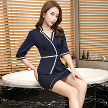 New designs restaurant manager  and waiter middle sleeve V collar uniform suit for Girl student