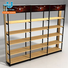 Wholesale Retail Chain Store Display Wall Mounted Wine Display Racks Wooden For Supermarket