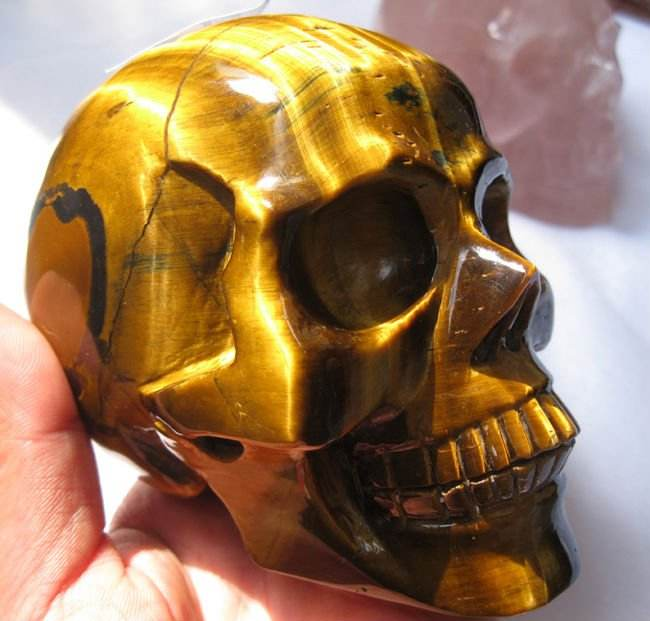 Amazing tiger eye carved crystal skeleton