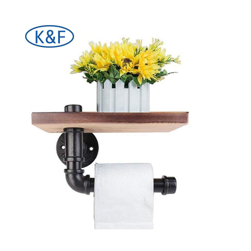 diy industrial wall mounted toilet roller paper holder black pipe fitting epoxy painted decorative elbow tee iron fittings