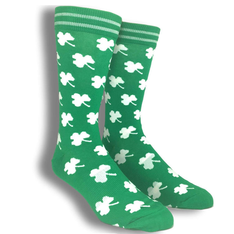 women's white funny shamrock cotton dress socks knee high socks for women