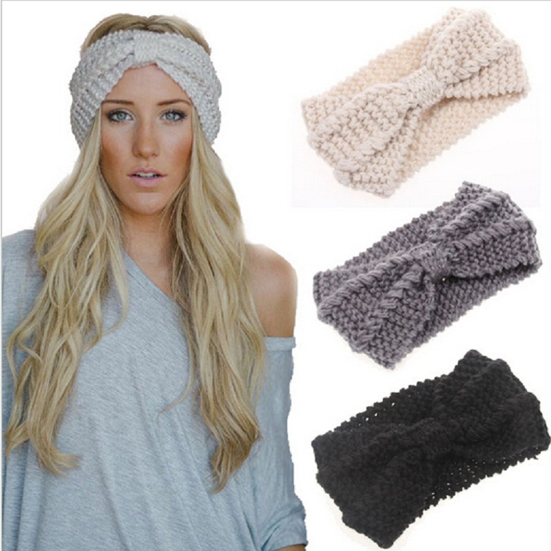 Phụ nữ Lady Crochet Bow Knot Turban Dệt Kim Head Bọc Hairband Winter Warmer Ear Headband