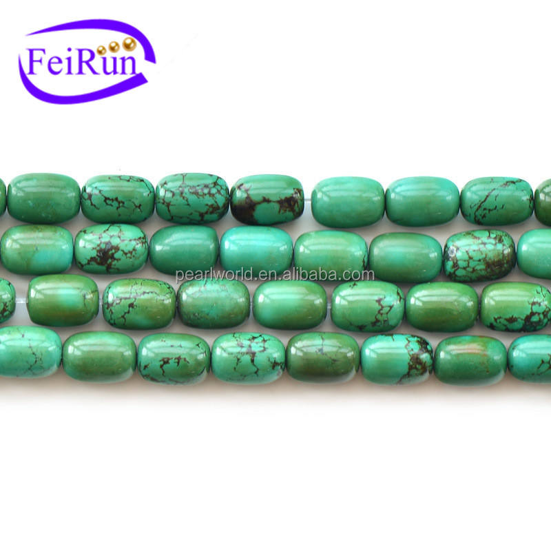 Cylindrical shape loose DIY beads green old turquoise, turquoise wholesale