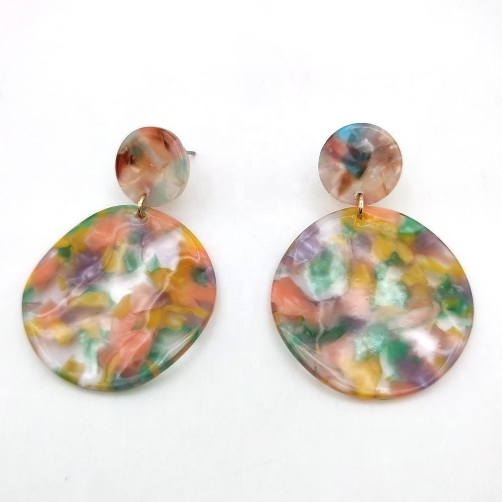 Manufacture fashion color resin hoop marble earrings