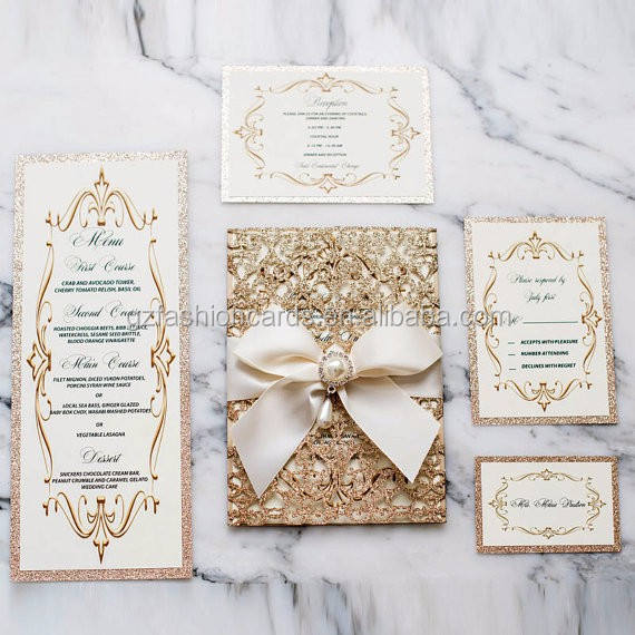 Wholesale Luxury Laser Cut Invitation Card Glitter Design Invitations Suite with With Reception Cards and Envelope