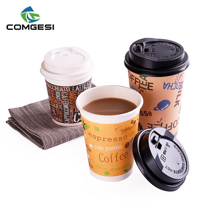 China manufacturers wholesale good quality paper cup 20 oz double wall paper cup with lids straw sleeves
