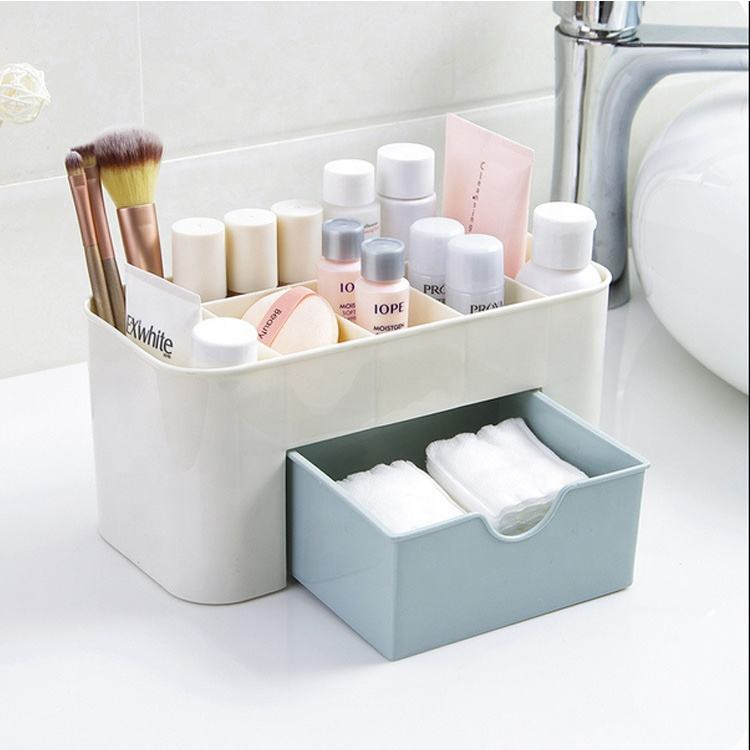Multifunctional Drawer Desk Stationery makeup Organizer Plastic Cosmetic Storage Box