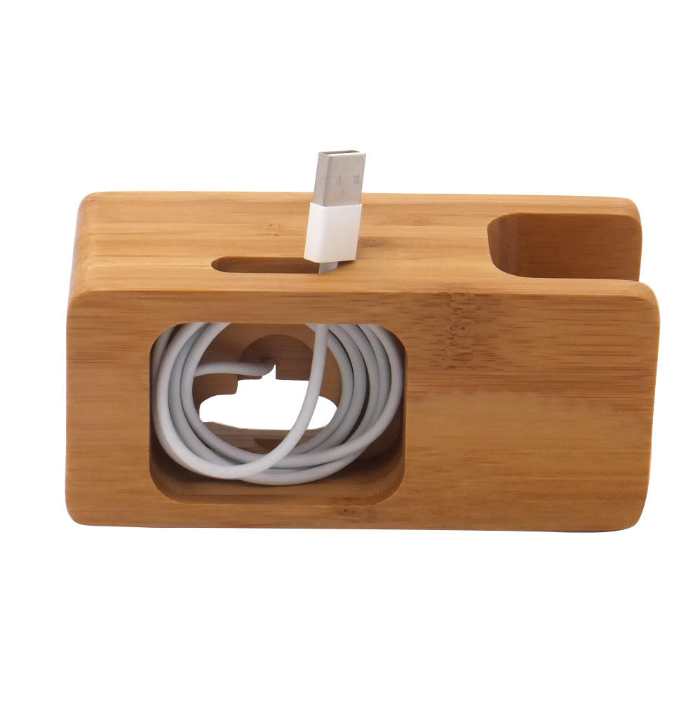 Multifunctional Bamboo Mobile Phone Holder Natural Bamboo Wood Desktop Charging station for Phone